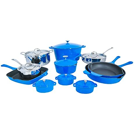 Le Chef France Blue 19 Piece Cookware Set
