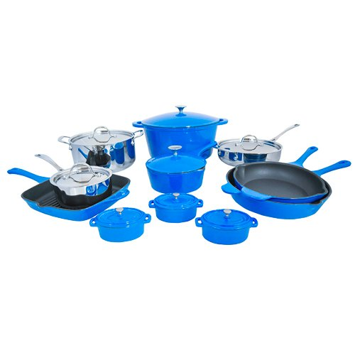 Le Chef 19-Piece Cookware Set, France Blue and Silver.