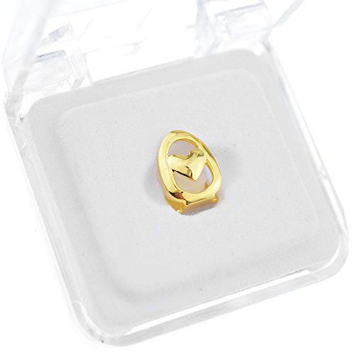 Open Face Heart 14k Gold Plated Grillz Single Cap Top Upper Canine Tooth Grills Hip Hop Grill