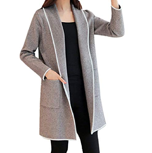 Women Fashion Lapel Open Front Long Trench Coat, Winter Blended Casual Long Sleeve Oversize Cardigan Coat Pockets Nevera