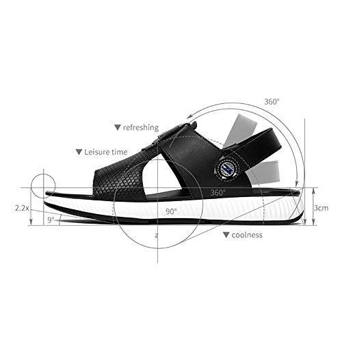 Sandales Marche Cuir De Noir Et B Carrière Printemps Été Plein Blanc Air Bureau Semelles Confort Occasionnel Hommes Légères Pour En Chaussures n8Eqwffzvp