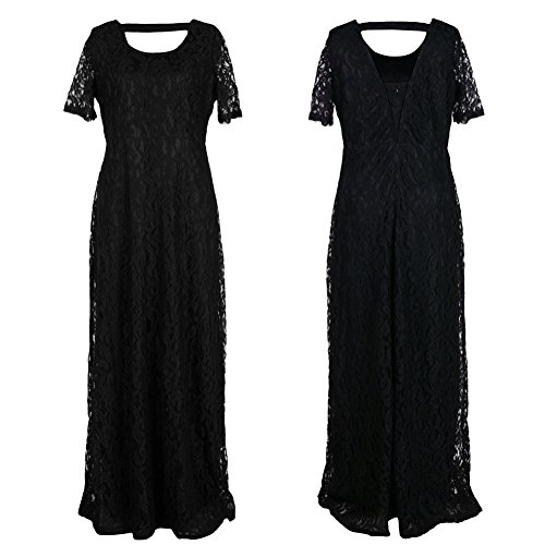 Riveroy Women's Formal Lace Plus Size Long Evening Dress Mother Of The Bride 7XL Black