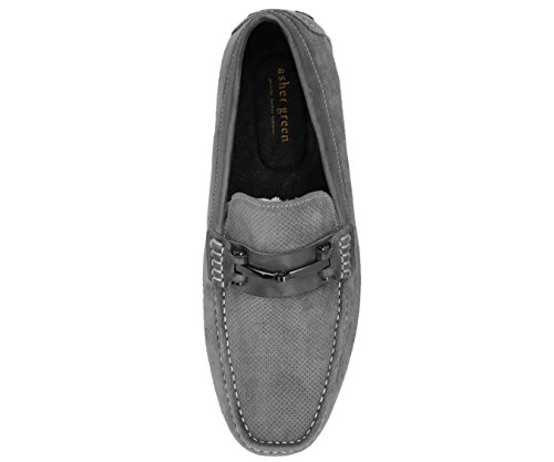 Asher Green Men's Loafers Genuine Leather & Suede Driving Shoes Grey/Embossed-suede outlet geniue stockist geniue stockist cheap online buy cheap lowest price 777UEyU