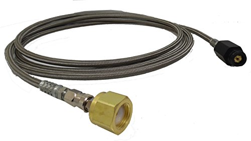 Soda Maker to Large external CO2 Tank (CGA 320 Valve ) 6' Foot Stainless Mesh Hose with Quick Disconnect by Palmer Pneumatics