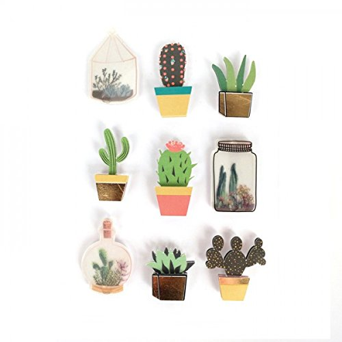 Graine crative 3D stickers botanic & cactus 4 cm x 9