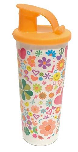 Tupperware 16 Ounce Tumbler with Flip Top Seal Retro Peace Sign Hearts Flowers (Tumblers Tupperware Acrylic)
