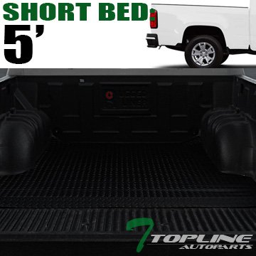 Topline Autopart Black Rubber Diamond Plate Truck Bed Cargo Box Floor Mat Carpet 15-17 Chevy Colorado / GMC Canyon Crew Cab 5 Ft 60