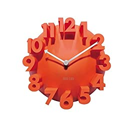 3D Digital Modern Contemporary Home Office Decor Round Quartz Wall Clocks Home Decor Decoration (Orange)