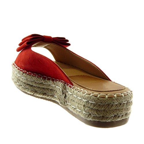 Compensé Mode Tréssé Rouge Femme Plateforme Slip Noeud Chaussure Talon on Corde Plateforme Angkorly 4 Mule Sandale cm 7Snq5