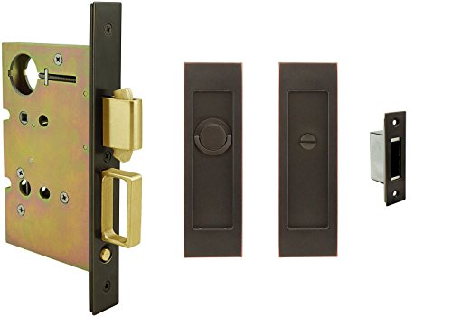 INOX FH27PD8440-234-TT09-10B Mortise Pocket Door Privacy Lock with 2-3/4-Inch Backset, TT09 Thumb Turn and Coin Turn, Oil Rubbed Bronze