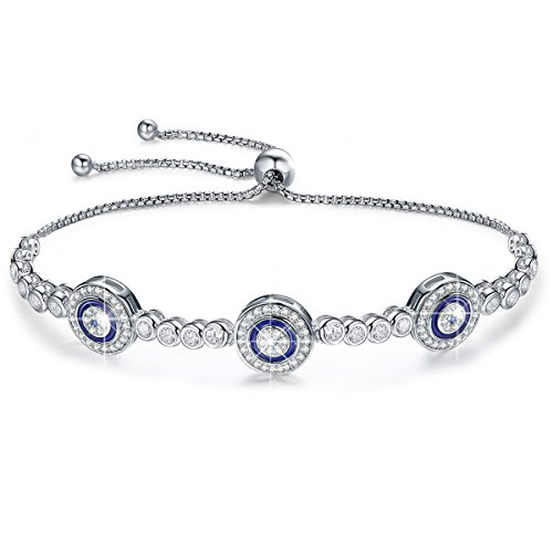 (BAMOER 925 Sterling Silver Expandable Lucky Blue Evil Eye Chain Bracelet with Sparkling Cubic Zirconia for Women Girls Style 4)
