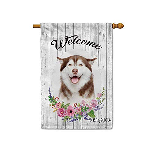 BAGEYOU Welcome Spring Summer Flowers Cute Dog Husky Decorative House Flag Lovely Puppy Floral Seasonal Home Decor Banner for Ourside 28X40 Inch Print Double Sided ()