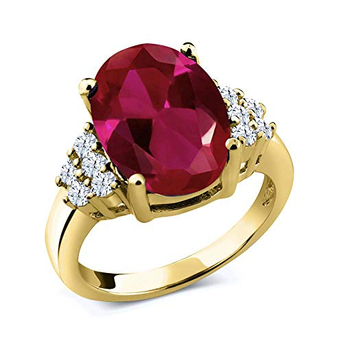 - Gem Stone King 5.30 Ct Oval Red Created Ruby 18K Yellow Gold Plated Silver Ring (Size 7)
