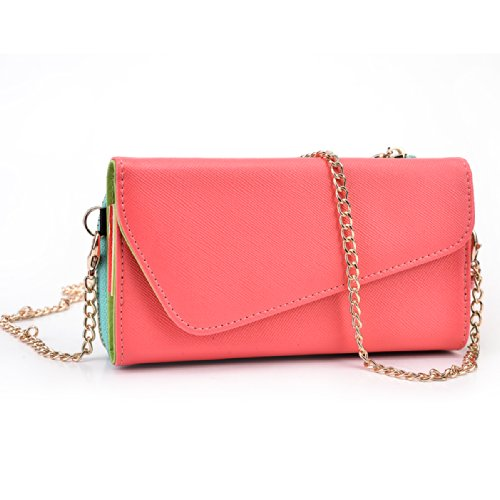 Coral / Mint Crossbody Case fits Huawei Ascend Mate