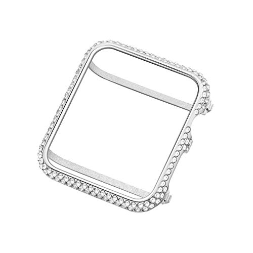 UKCOCO Compatible Apple Watch 38mm Diamond Case, Aluminum iWatch Bezel Metal Cover Crystal Rhinestone Protective Protector Cover for iWatch Series 1/2/3 Sport and Edition (38mm Silver) ()