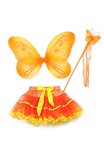 Orange Butterfly Wings & Soft Tulle Tutu Toddler Girl Costume Dress Up 2T-5T