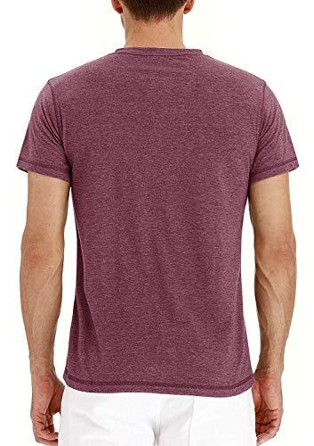 Mens Henley Short Sleeve T Shirt Slim Fit Shirt Cotton Tee Lightweight Pullover Casual Tops