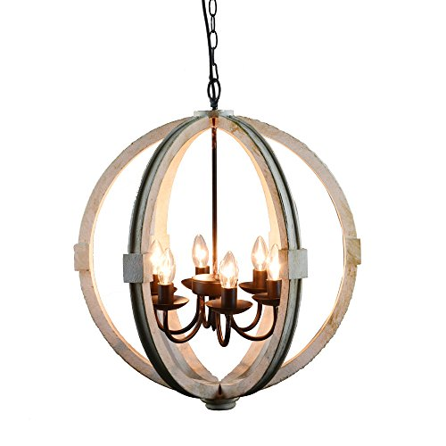 Benzara Calder Wooden Orb Shape Metal Chain and Six Bulb Holders, White Chandelier,