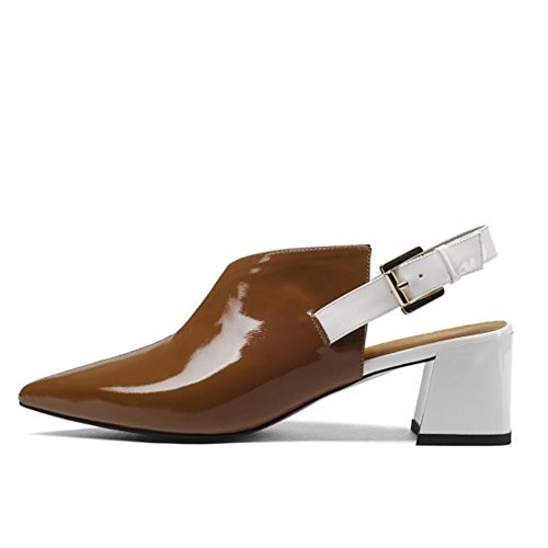 High Pumps Mid White Thick Strap Ankle Leather Fashion Black Heel Shoes Brown GAOLIXIA Brown Work Sandals Glamorous Court Womens Ladies Shoes Eq1xnwHat
