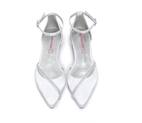 Basso MarHermoso bellerine Strass Chiusa Scarpe Cinghie Satin Sposa da Donna Tacco Matrimonio bianco Punta ZwcHqZ4zS