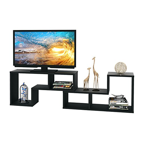 """DEVAISE 3-in-1 Versatile TV Stand Bookcase Display Cabinet by Black (0.9"""" thickness)"""