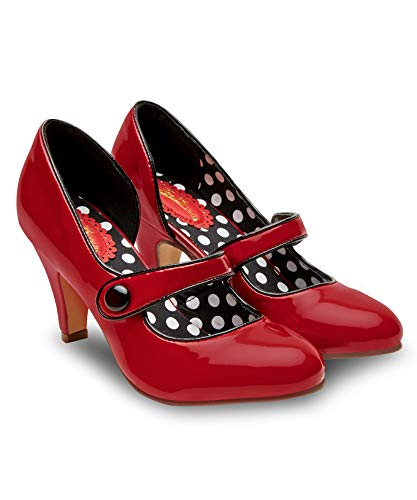 (Joe Browns Womens Vintage Polka Dot Red Patent Shoes Red)