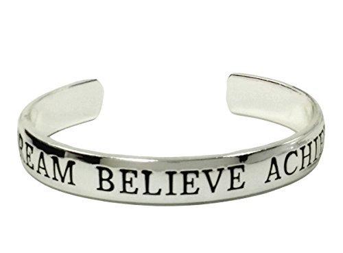 Inspiring Inspirational Jewelry DREAM BELIEVE ACHIEVE Cuff Bracelet Silver Plate In A Gift Box