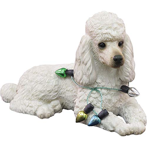 Sandicast Poodle White, Lying, Holding Holiday Lights - Christmas Holiday Ornament (XSO12102)