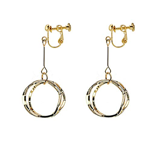 Round Loops Drop Dangle Clip on Earrings for Women Gold Plated Non-Pierced