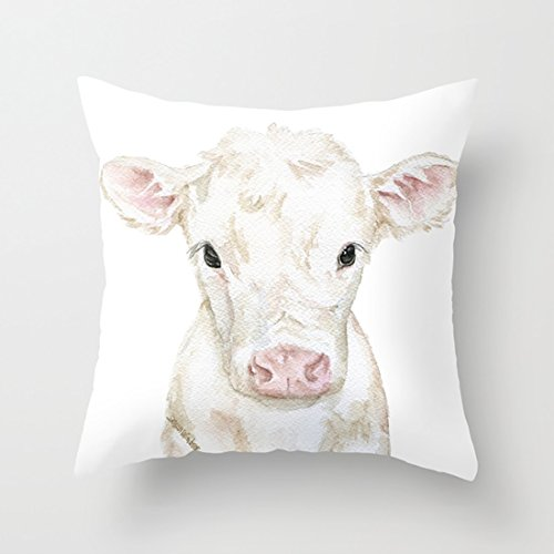 - CqxinFuxi Couch Pillows Covers 18 inch Baby White Cow Calf Watercolor Farm Animal 100% Cotton Canvas Embroidered for Home Decorative
