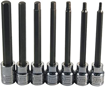 Neiko 10076A 3//8-Inch Extra Long Metric Hex Bit Socket Set 7-Piece