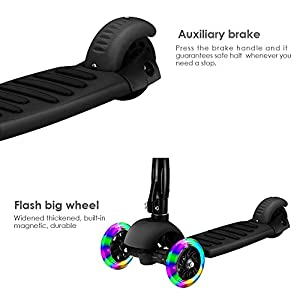 Scooter,Banne Height Adjustable Lean to Steer Flashing PU Wheels 3 Wheel Kick Scooters for Kids Boys Girls