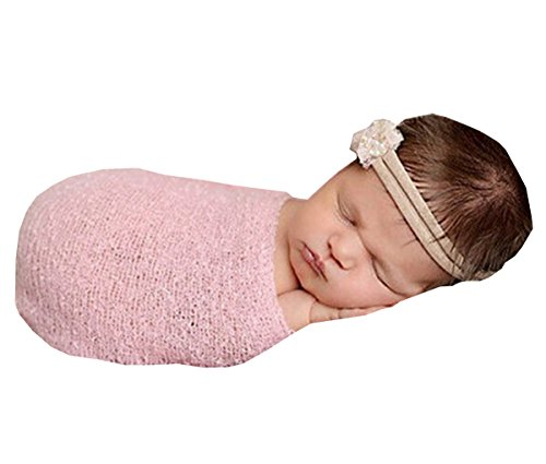 [Newborn Baby Crochet Knit Costume Photography Prop Outfits Stretch Wrap Blanket (Pink)] (Kitty Newborn Baby Costumes)