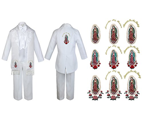 Baby Boy Teen Christening Baptism First Communion Church Easter Formal White Tail Jacket With Satin Notch Lapel Suit Gold Guadalupe Maria Virgin Mary On Stole & The Back Of The Jacket SM-20