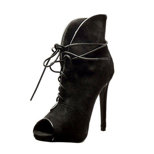Angkorly - damen Schuhe Stiefeletten - Stiletto - Sexy Stiletto high heel 12.5 CM - Schwarz