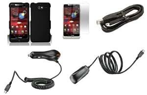 Quaroth - Motorola Droid Razr M XT907 (Verizon) Premium Combo Pack - Black Hard Shield Case + Atom LED Keychain + Screen...