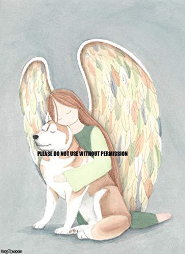 Red Siberian Husky cradled by Angel/Lynch Folk Art Print