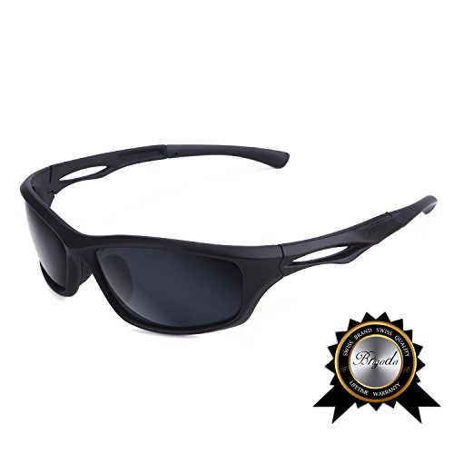 BRIGADA Polarized Cool Black Sport Sunglasses for Men, Driving Baseball Fishing Cycling Running Golf Sunglasses Polarized Brands, Resist Sunshine & Snow Reflection and Keep Sport & Driving - Glasses Cool Black