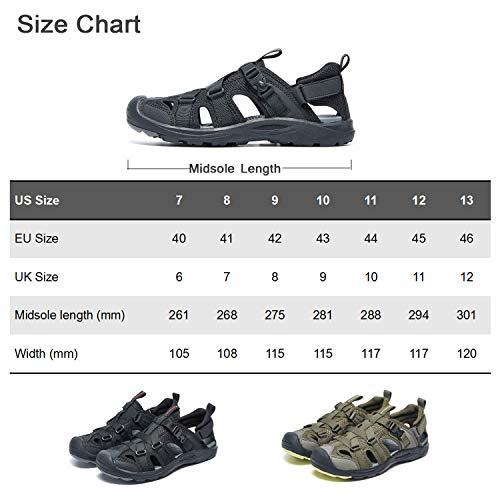AMIDEWA Mens Outdoor Sandals Closed Toe Adjustable Hiking Sport Beach Water Shoes for Athletic Fisherman Beach Walking - Black - 11