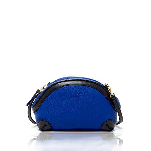 Color Block Genuine Leather - SUSU The Coco Small Leather Crossbody Bag Color Block Purse Royal Blue Bags for Women Designer Handbags Medium Size Genuine Leather Two tone Crossbody Purses for Girls Unique it Bag for gift