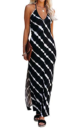 KIRUNDO 2021 Summer Women's Spaghetti Strap Maxi Dress Sleeveless V Neck Tie Dye Side Split Long Beach Casual Dress