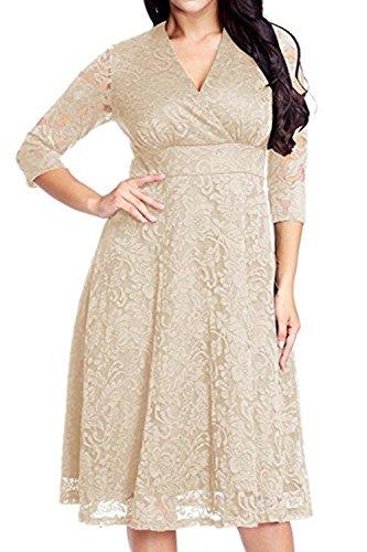 YACUN Damen Spitzen Plus Size Brautjungfer 3/4 Ärmel Party Kleid ...