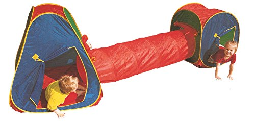 Pop up Play Tent 3pc Tunnel Adventure Set with Carry Bag Popup Open Fold Closed by Sid - Adventure Hut