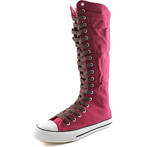 DailyShoes Womens Canvas Mid Calf Tall Boots Casual Sneaker Punk Flat, Fuchsia Boots, Hot Brown Lace
