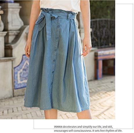 DQHXGSKS 100% Algodón Falda Mujer Verano Nuevo Diseño Flounce Lady Falda Larga Elástica Cintura Causal Falda M Jeans Azul: Amazon.es: Deportes y aire libre