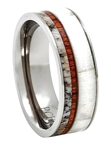 Titanium Deer Antler Ring with Koa Wood Inlay Flat Top 8mm Wedding Band Comfort Fit (10.5)