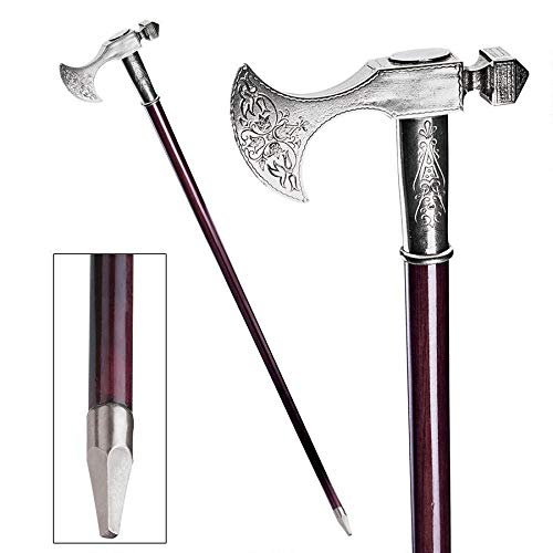 Design Toscano Bavarian Walking Stick, 35 Inch, Pewter Handle and Hardwood Cane, Silver
