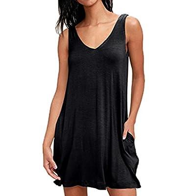 FEITONG Women's Sleeveless Pockets Casual Swing T-Shirt Dresses Summer Sexy Solid Mini Dress