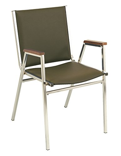 (KFI 411 Stacking Chair, 1-Inch Thick Seat, Commercial Grade, Brown Vinyl)