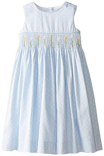 Laura Ashley London Little Girls' Smocked Dress, Blue, 6